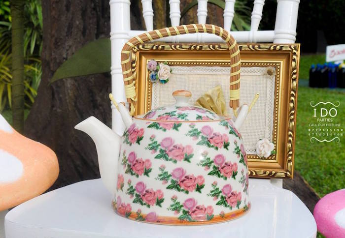 Vintage tea kettle from a Vintage Alice in Wonderland Birthday Tea Party on Kara's Party Ideas KarasPartyIdeas.com (41)