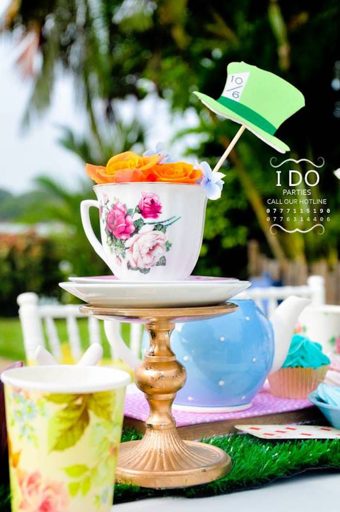 Tea cup table centerpiece from a Vintage Alice in Wonderland Birthday Tea Party on Kara's Party Ideas KarasPartyIdeas.com (39)