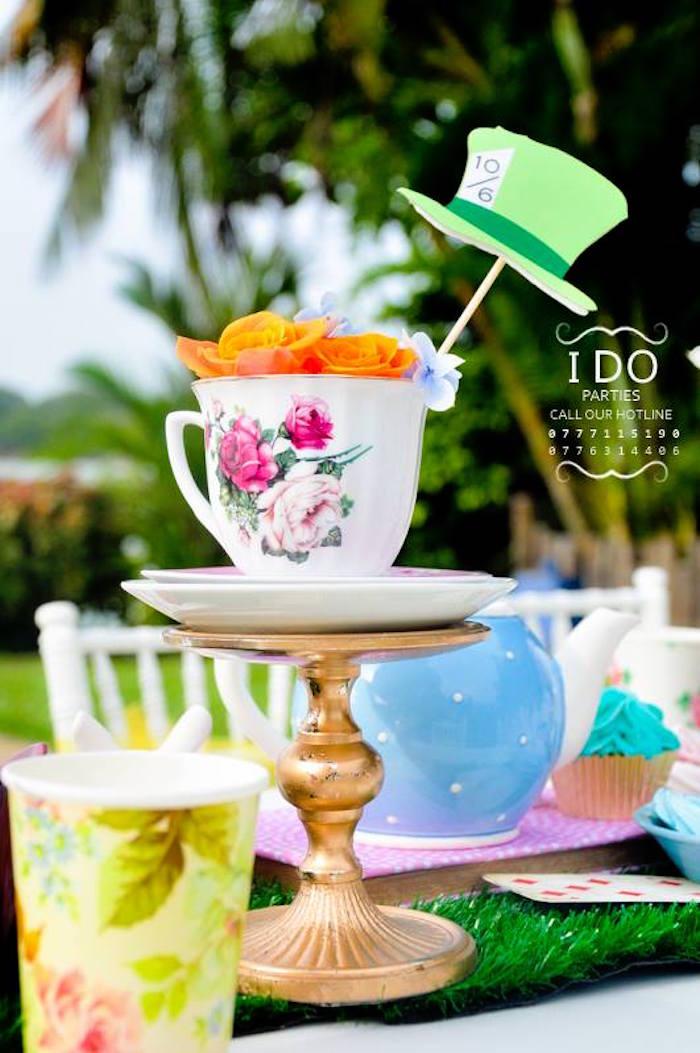 Tea cup table centerpiece from a Vintage Alice in Wonderland Birthday Tea Party on Kara's Party Ideas KarasPartyIdeas.com (39)