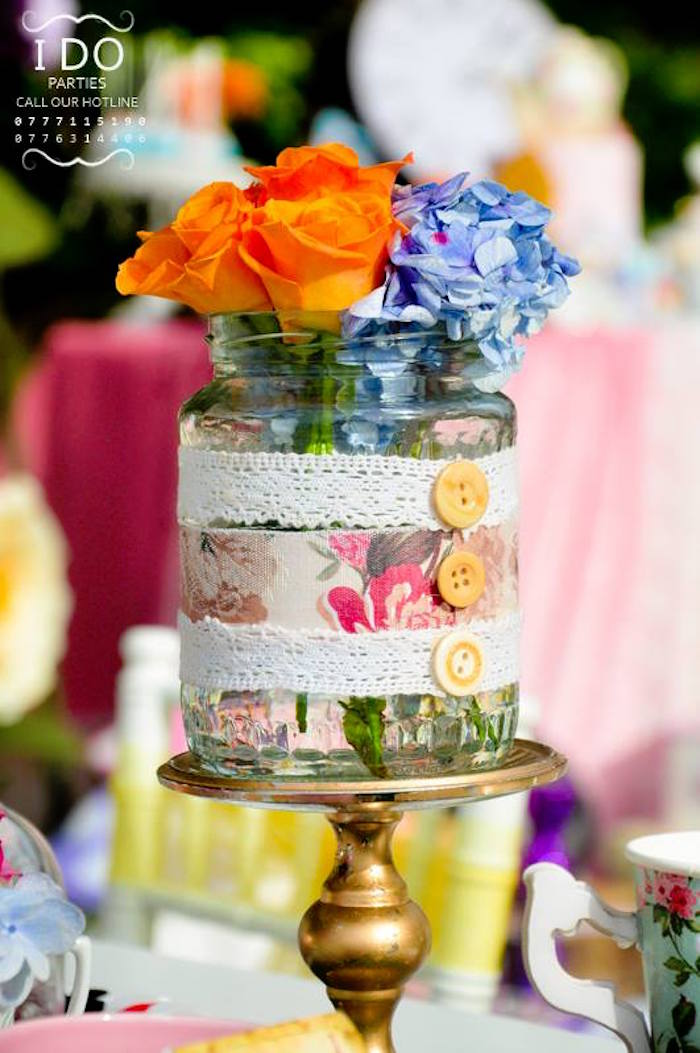 Floral centerpiece from a Vintage Alice in Wonderland Birthday Tea Party on Kara's Party Ideas KarasPartyIdeas.com (37)