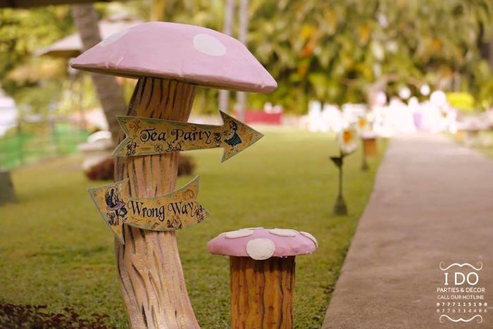 Toadstool & flower walkway from a Vintage Alice in Wonderland Birthday Tea Party on Kara's Party Ideas KarasPartyIdeas.com (32)