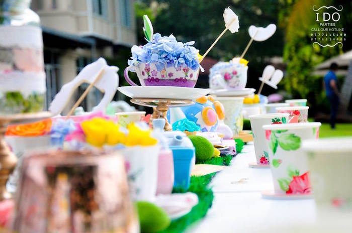 Dining tablescape from a Vintage Alice in Wonderland Birthday Tea Party on Kara's Party Ideas KarasPartyIdeas.com (31)