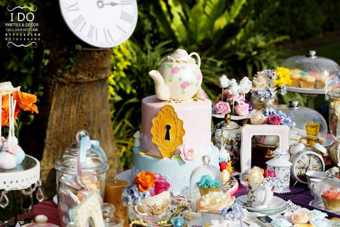 Dessert table details from a Vintage Alice in Wonderland Birthday Tea Party on Kara's Party Ideas KarasPartyIdeas.com (29)