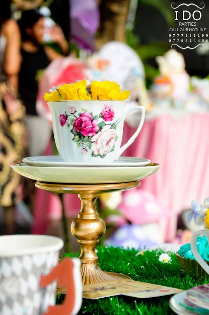 Tea cup table centerpiece from a Vintage Alice in Wonderland Birthday Tea Party on Kara's Party Ideas KarasPartyIdeas.com (28)