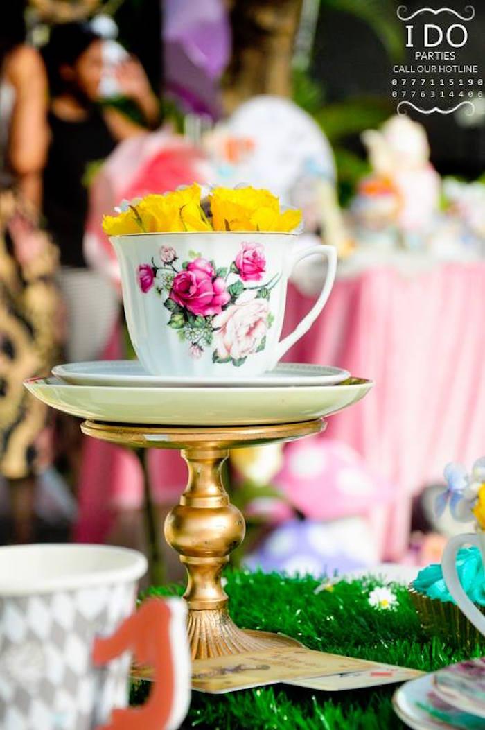 Tea cup table centerpiece from a Vintage Alice in Wonderland Birthday Tea Party on Kara's Party Ideas KarasPartyIdeas.com (28)