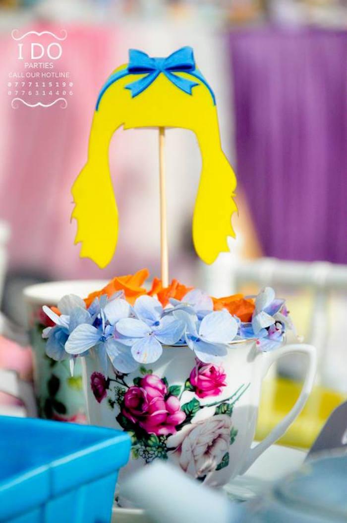 Tea cup floral centerpiece from a Vintage Alice in Wonderland Birthday Tea Party on Kara's Party Ideas KarasPartyIdeas.com (26)
