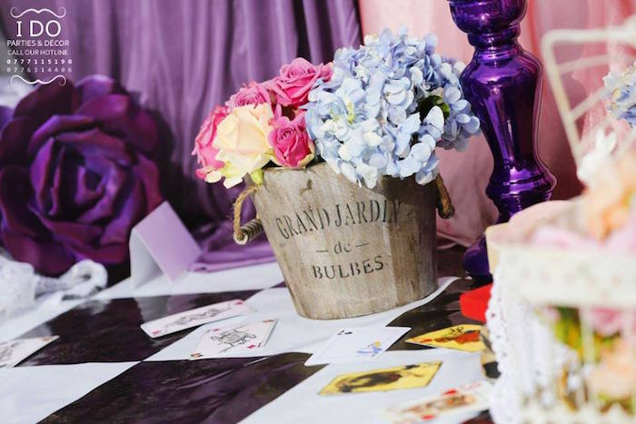 Bucket of flowers from a Vintage Alice in Wonderland Birthday Tea Party on Kara's Party Ideas KarasPartyIdeas.com (22)