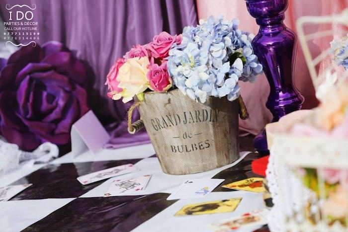 Bucket of flowers from a Vintage Alice in Wonderland Birthday Tea Party on Kara's Party Ideas KarasPartyIdeas.com (22)