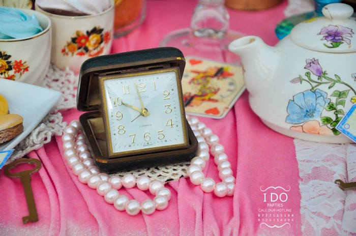 Clock & pearl table decorations from a Vintage Alice in Wonderland Birthday Tea Party on Kara's Party Ideas KarasPartyIdeas.com (21)