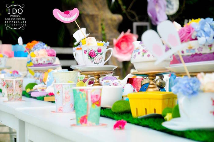 Tablescape from a Vintage Alice in Wonderland Birthday Tea Party on Kara's Party Ideas KarasPartyIdeas.com (20)