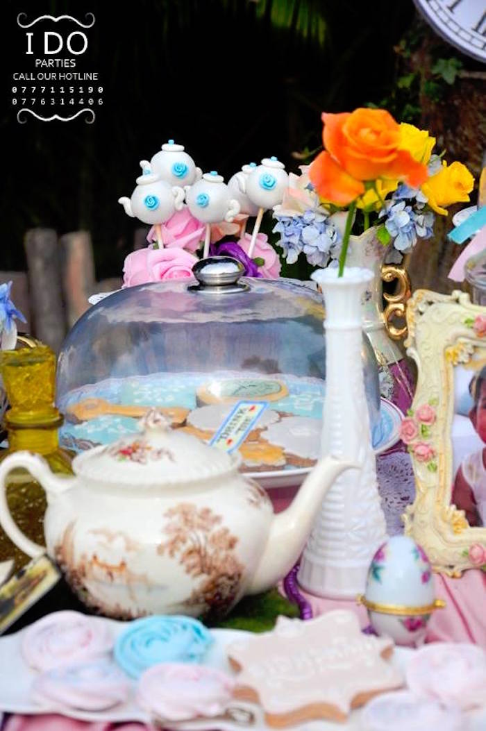 Tea kettle cake pops + decor from a Vintage Alice in Wonderland Birthday Tea Party on Kara's Party Ideas KarasPartyIdeas.com (17)