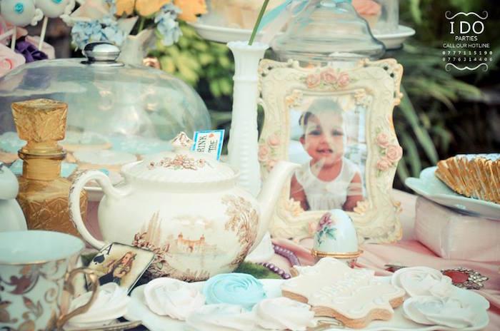 Dessert table detail from a Vintage Alice in Wonderland Birthday Tea Party on Kara's Party Ideas KarasPartyIdeas.com (16)