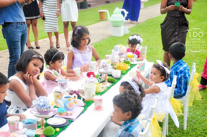 Party table from a Vintage Alice in Wonderland Birthday Tea Party on Kara's Party Ideas KarasPartyIdeas.com (50)