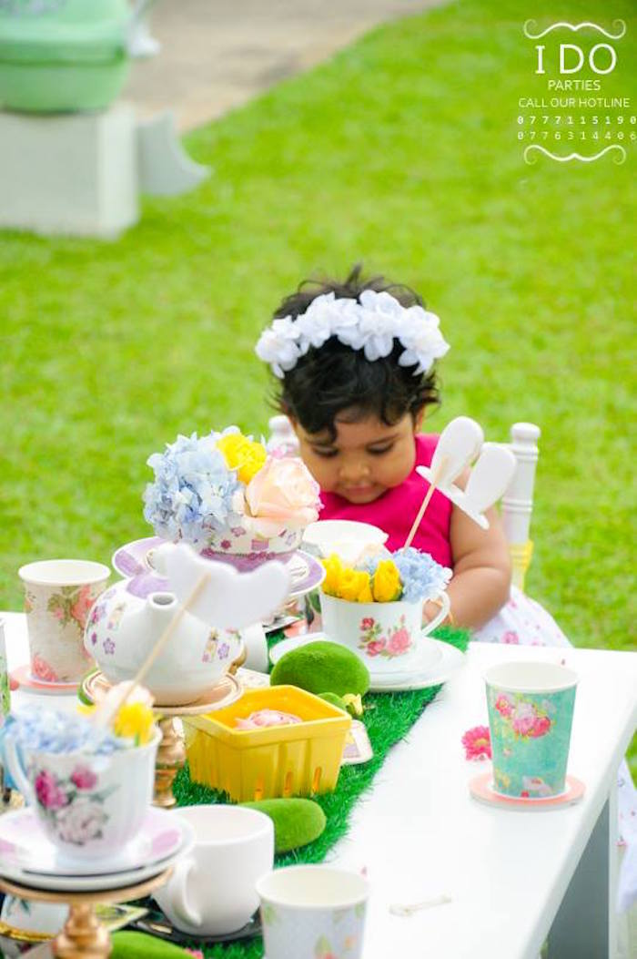 Kids table from a Vintage Alice in Wonderland Birthday Tea Party on Kara's Party Ideas KarasPartyIdeas.com (13)