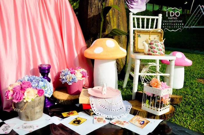Party decor from a Vintage Alice in Wonderland Birthday Tea Party on Kara's Party Ideas KarasPartyIdeas.com (10)