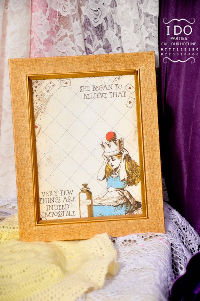 Framed party signage from a Vintage Alice in Wonderland Birthday Tea Party on Kara's Party Ideas KarasPartyIdeas.com (9)
