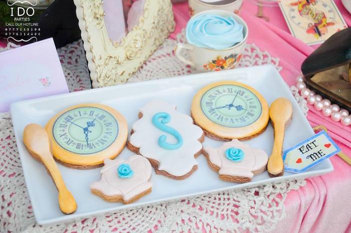 Cookies from an Vintage Alice in Wonderland Birthday Tea Party on Kara's Party Ideas KarasPartyIdeas.com (8)