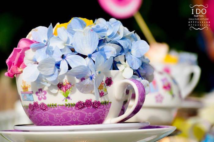 Tea cup floral arrangement from a Vintage Alice in Wonderland Birthday Tea Party on Kara's Party Ideas KarasPartyIdeas.com (7)