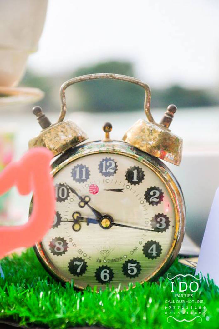 Winding clock from a Vintage Alice in Wonderland Birthday Tea Party on Kara's Party Ideas KarasPartyIdeas.com (49)
