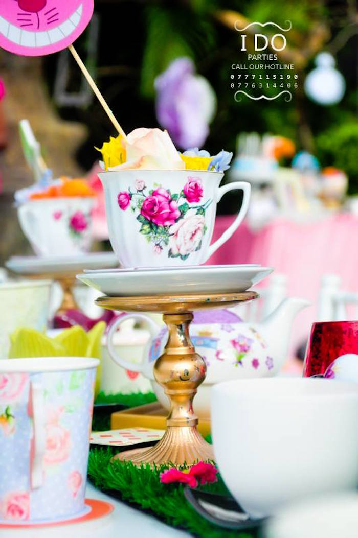 Tea cup table centerpiece from a Vintage Alice in Wonderland Birthday Tea Party on Kara's Party Ideas KarasPartyIdeas.com (48)