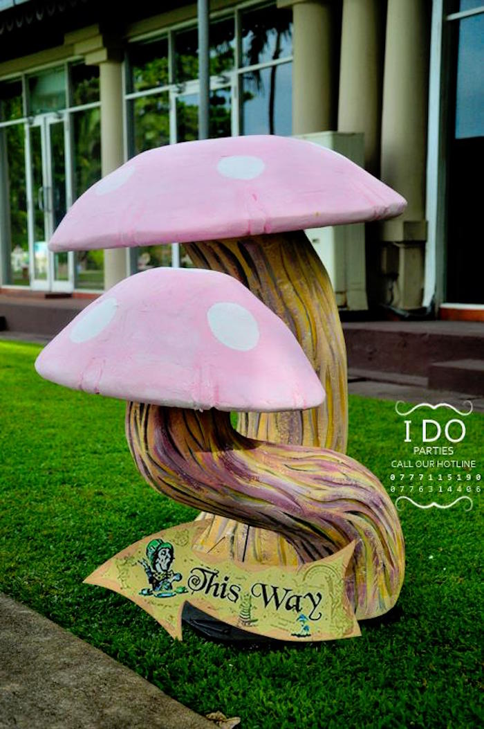 Toadstool party prop sign from a Vintage Alice in Wonderland Birthday Tea Party on Kara's Party Ideas KarasPartyIdeas.com (47)