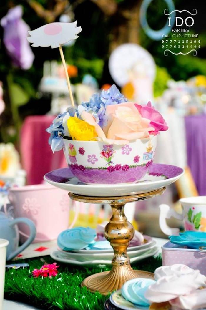 Tea cup table centerpiece from a Vintage Alice in Wonderland Birthday Tea Party on Kara's Party Ideas KarasPartyIdeas.com (44)