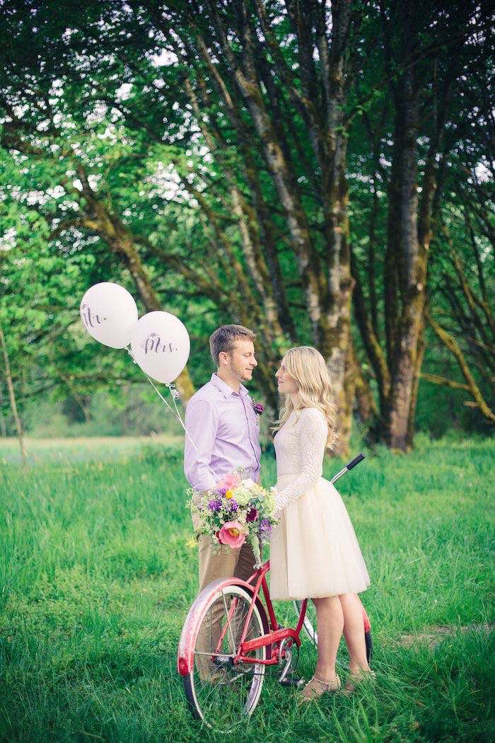 Bride + Groom & Vintage Bike from a Whimsical Rustic Floral Wedding via Kara's Party Ideas KarasPartyIdeas.com (18)