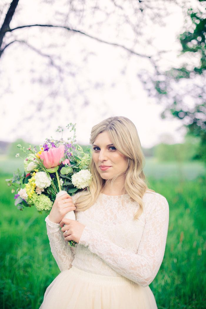 Bride from a Whimsical Rustic Floral Wedding via Kara's Party Ideas KarasPartyIdeas.com (16)