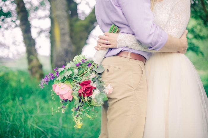 Bride + Groom photo shoot from a Whimsical Rustic Floral Wedding via Kara's Party Ideas KarasPartyIdeas.com (15)