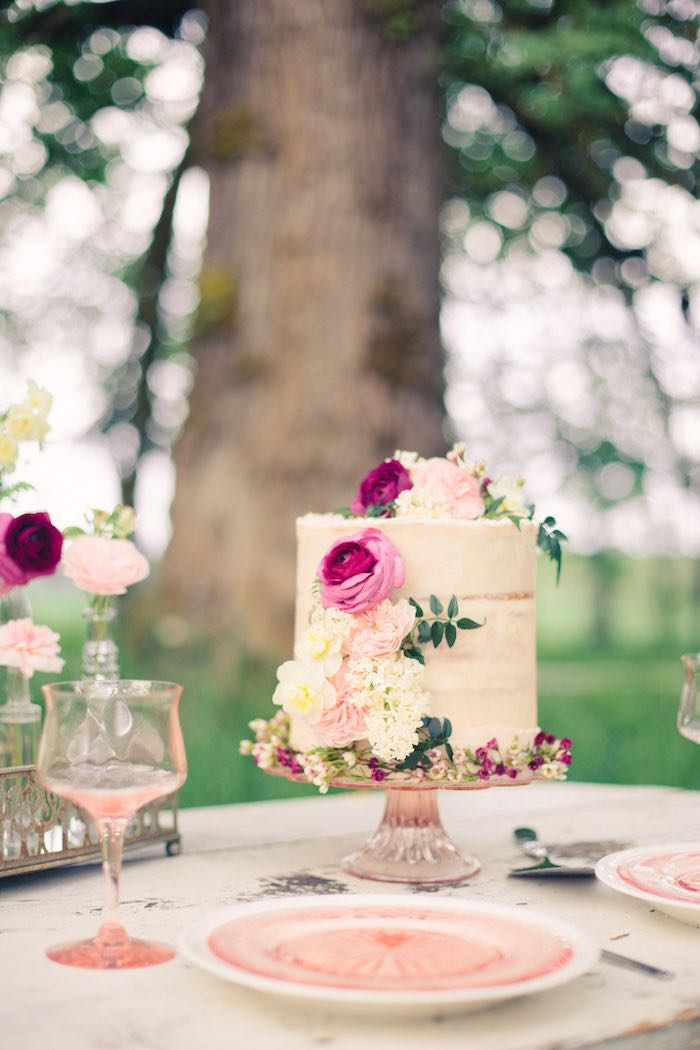 Gorgeous Floral naked cake from a Whimsical Rustic Floral Wedding via Kara's Party Ideas KarasPartyIdeas.com (12)