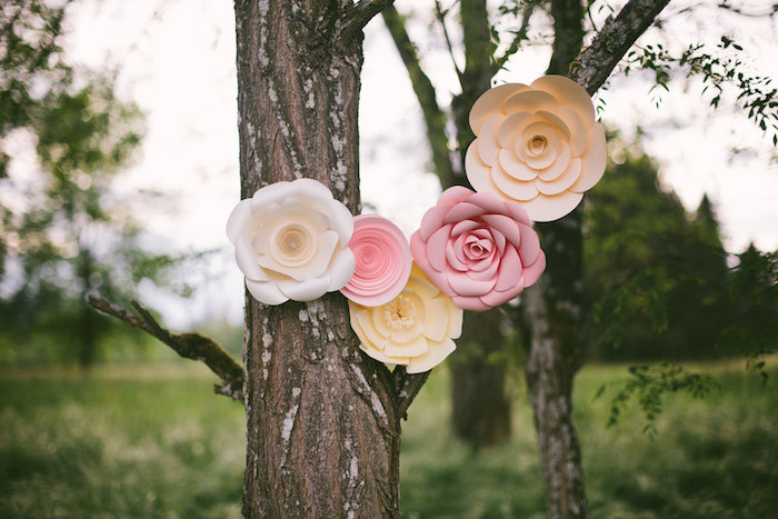 Paper flower decor from a Whimsical Rustic Floral Wedding via Kara's Party Ideas KarasPartyIdeas.com (28)