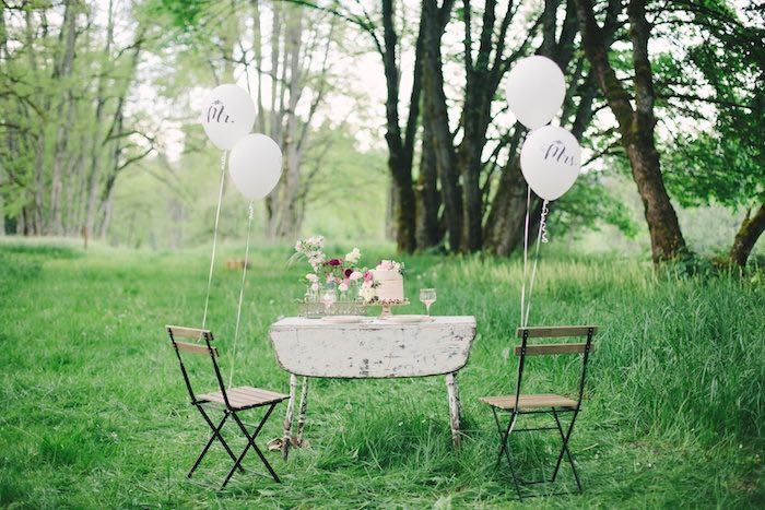 Rustic table setup from a Whimsical Rustic Floral Wedding via Kara's Party Ideas KarasPartyIdeas.com (8)