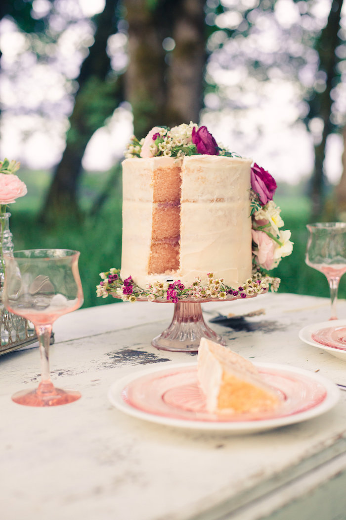 Sliced floral naked cake from a Whimsical Rustic Floral Wedding via Kara's Party Ideas KarasPartyIdeas.com (3)