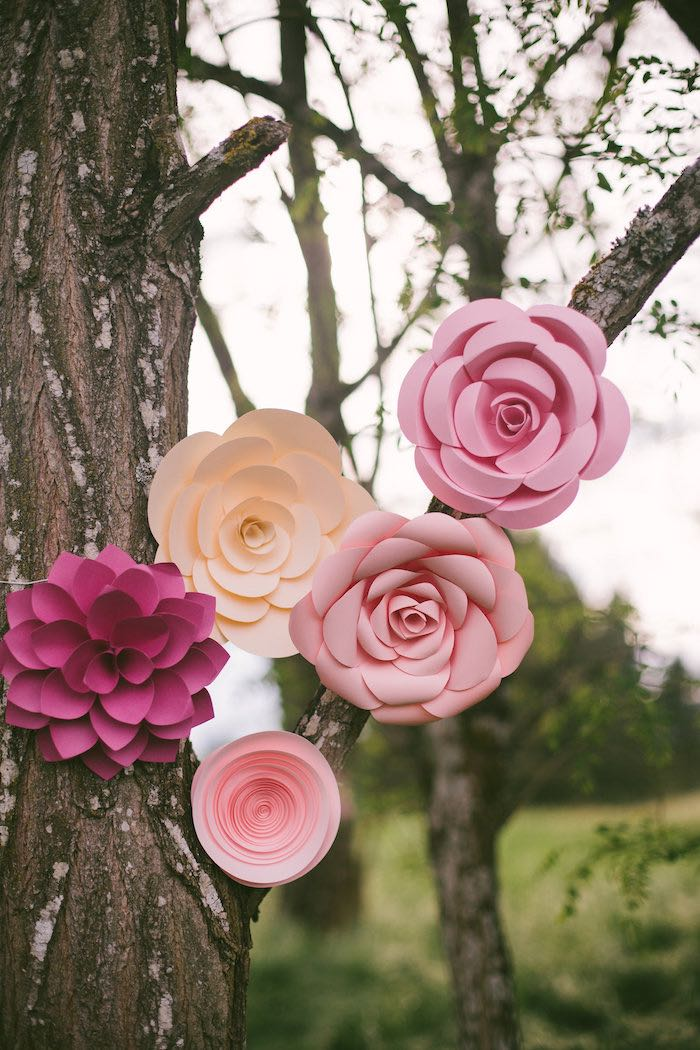 Hanging paper flowers from a Whimsical Rustic Floral Wedding via Kara's Party Ideas KarasPartyIdeas.com (26)