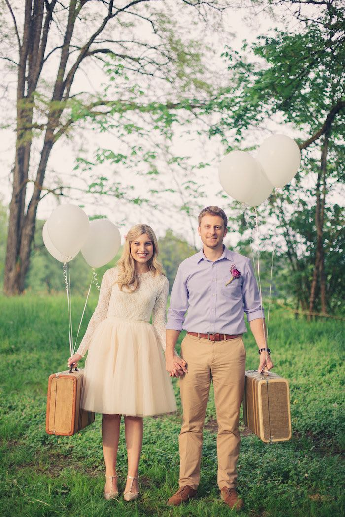 Bride + Groom - Ready to go from a Whimsical Rustic Floral Wedding via Kara's Party Ideas KarasPartyIdeas.com (23)