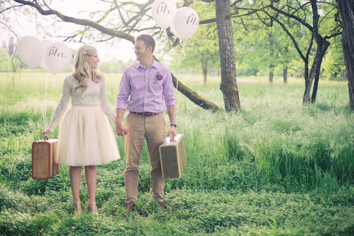 Packed suitcases from a Whimsical Rustic Floral Wedding via Kara's Party Ideas KarasPartyIdeas.com (22)