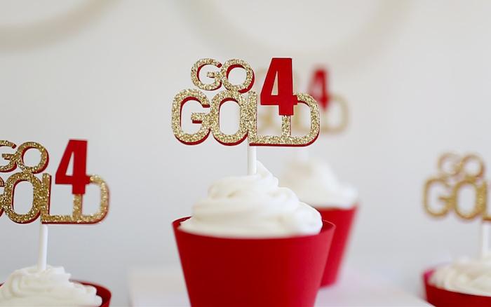 "Cupcakes from a ""Go 4 Gold"" Olympics Party on Kara's Party Ideas | KarasPartyIdeas.com (5)"