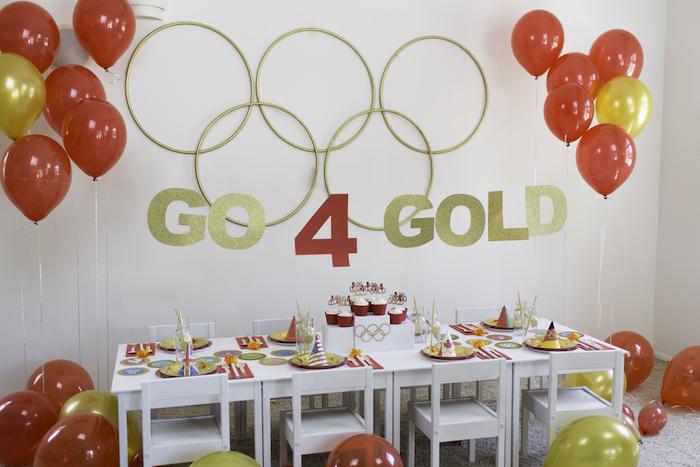 "Party table from a ""Go 4 Gold"" Olympics Party on Kara's Party Ideas | KarasPartyIdeas.com (4)"