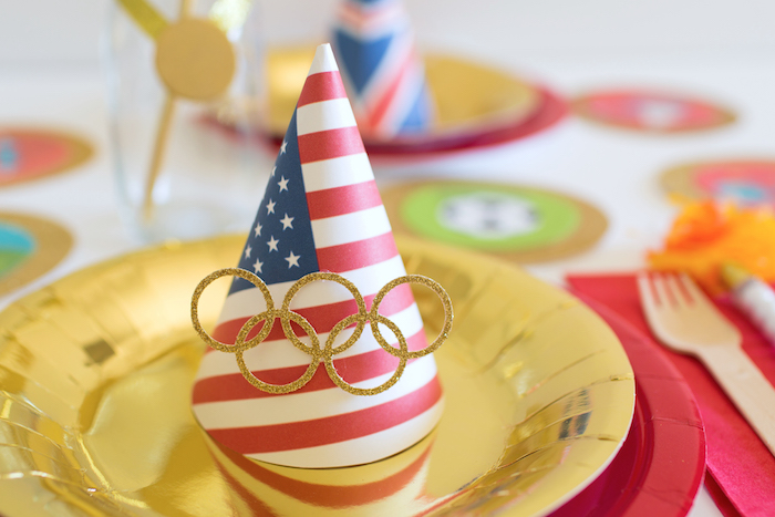 """American Flag Party Hat Place Setting from a """"Go 4 Gold"""" Olympics Party on Kara's Party Ideas 