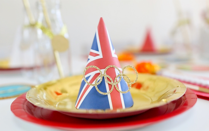 """British Party Hat from a """"Go 4 Gold"""" Olympics Party on Kara's Party Ideas 