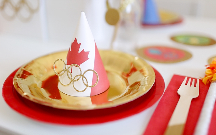 """Place Setting from a """"Go 4 Gold"""" Olympics Party on Kara's Party Ideas 