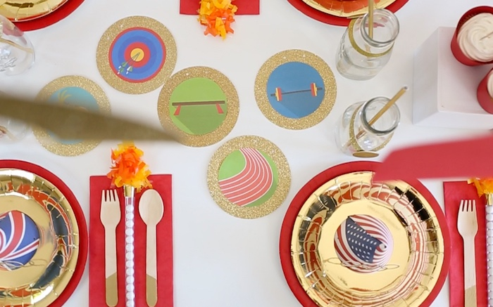 """Party tabletop from a """"Go 4 Gold"""" Olympics Party on Kara's Party Ideas 