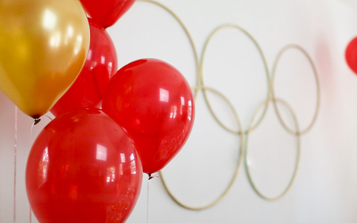 "Olympic Ring Backdrop from a ""Go 4 Gold"" Olympics Party on Kara's Party Ideas | KarasPartyIdeas.com (6)"