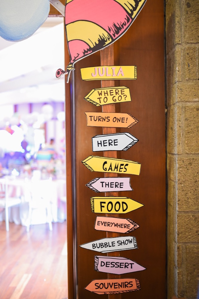 """Directional sign from an """"Oh the Places You'll Go"""" Dr. Seuss Birthday Party on Kara's Party Ideas 
