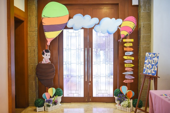 """Entrance signs from an """"Oh the Places You'll Go"""" Dr. Seuss Birthday Party on Kara's Party Ideas 