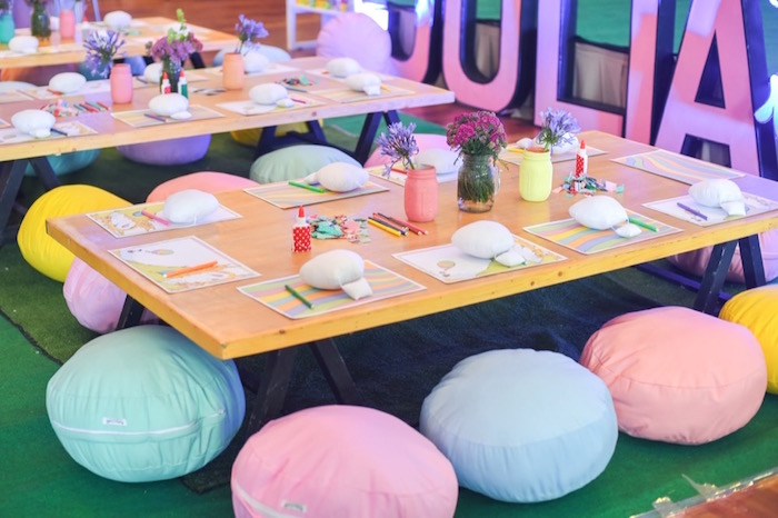 """Kids activity table from an """"Oh the Places You'll Go"""" Dr. Seuss Birthday Party on Kara's Party Ideas 