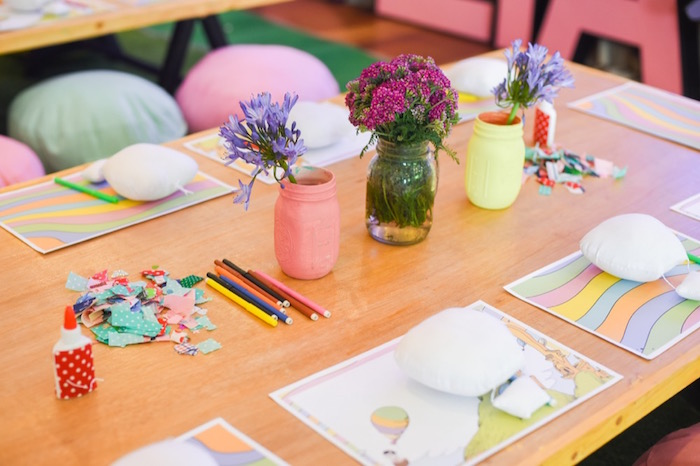 """Hot air balloon crafting table from an """"Oh the Places You'll Go"""" Dr. Seuss Birthday Party on Kara's Party Ideas 