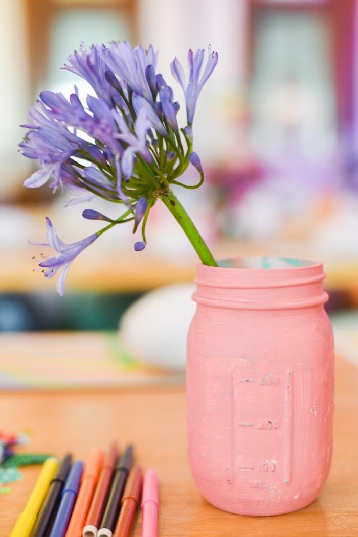 "Mason jar flower vase from an ""Oh the Places You'll Go"" Dr. Seuss Birthday Party on Kara's Party Ideas | KarasPartyIdeas.com (13)"