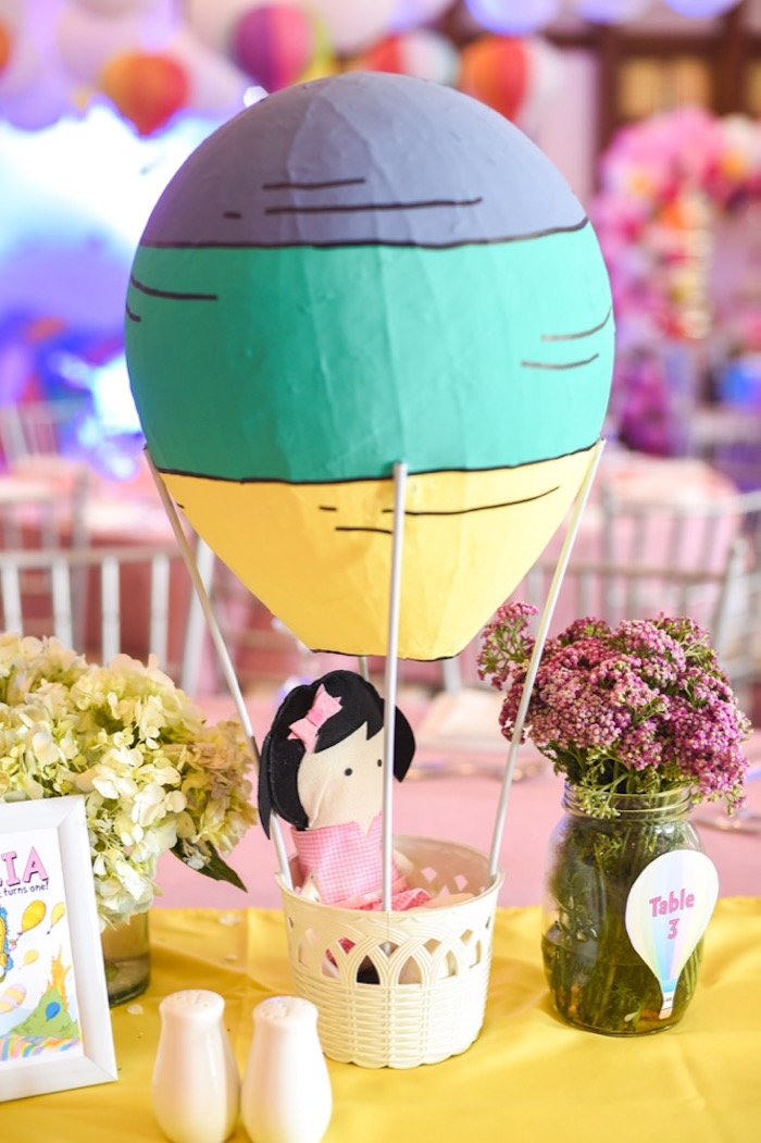"Hot air balloon centerpiece from an ""Oh the Places You'll Go"" Dr. Seuss Birthday Party on Kara's Party Ideas | KarasPartyIdeas.com (12)"