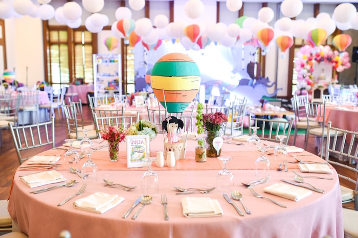 """Guest table from an """"Oh the Places You'll Go"""" Dr. Seuss Birthday Party on Kara's Party Ideas 